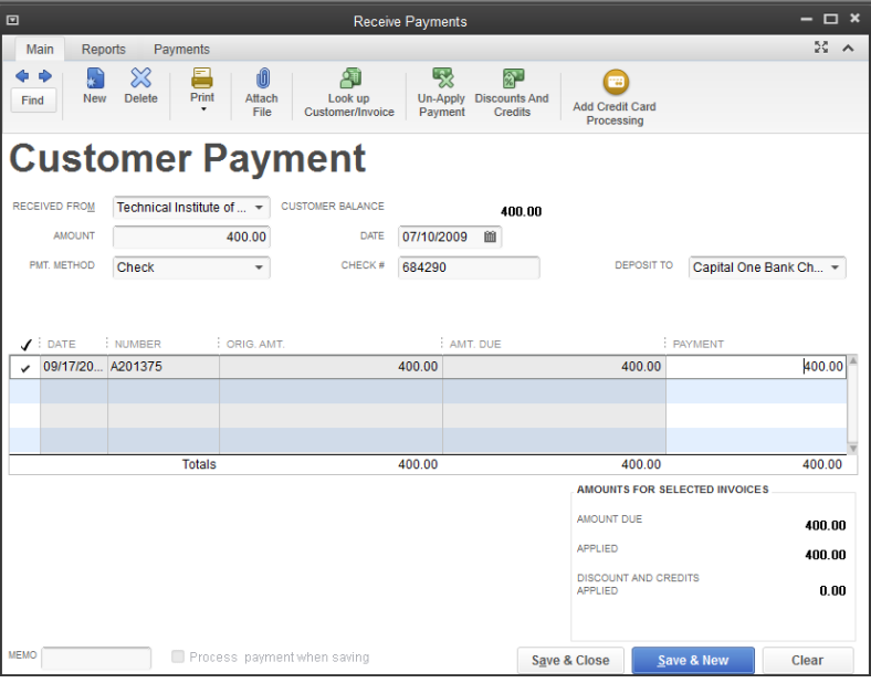 How To Record A Customer Payment For An Invoice In QuickBooks - Invoice received